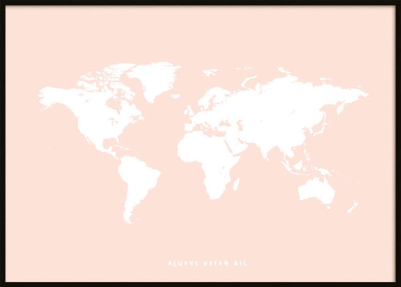 PINK KIDS WORLDMAP POSTER ...
