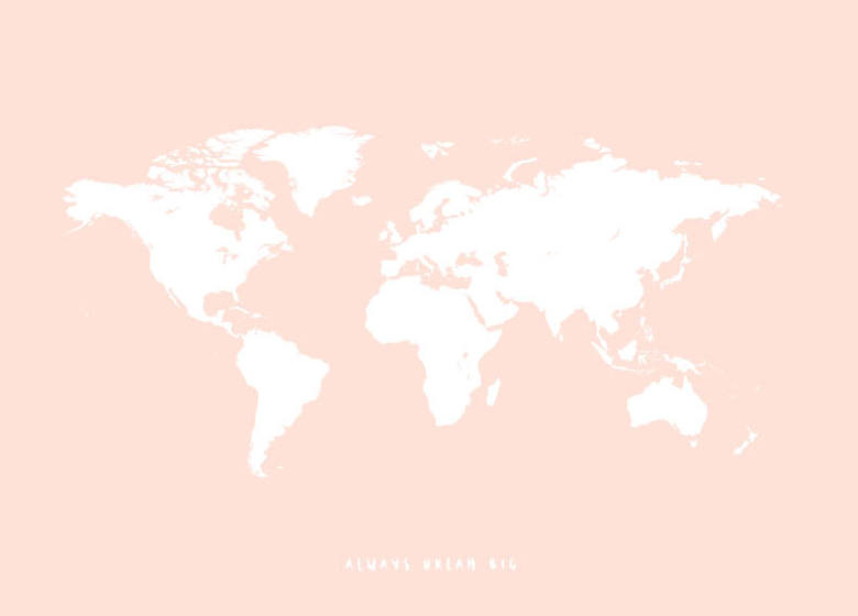 Pink Childrens Poster With A World Map Posters For Kids - Pink world map poster