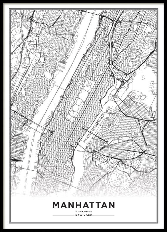 Map Of New York Poster.Poster New York City Map Black And White Print Poster With Maps