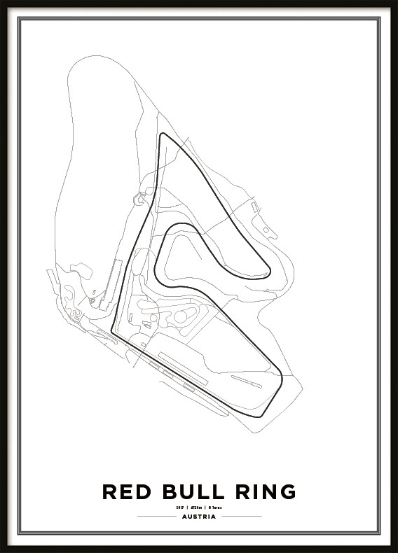 Poster, Red Bull Ring F1 print white