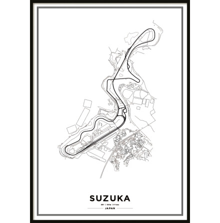 Poster, Suzuka International Racing Course F1 Print white