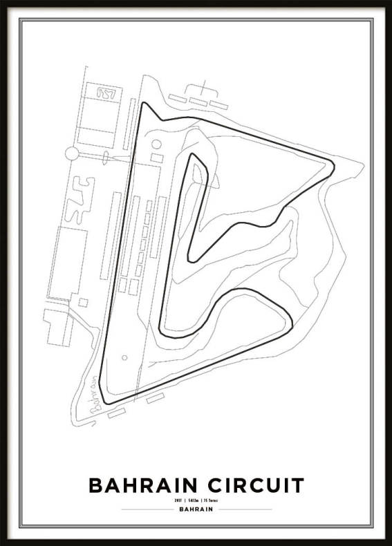 bahrain international circuit formula 1 race track print