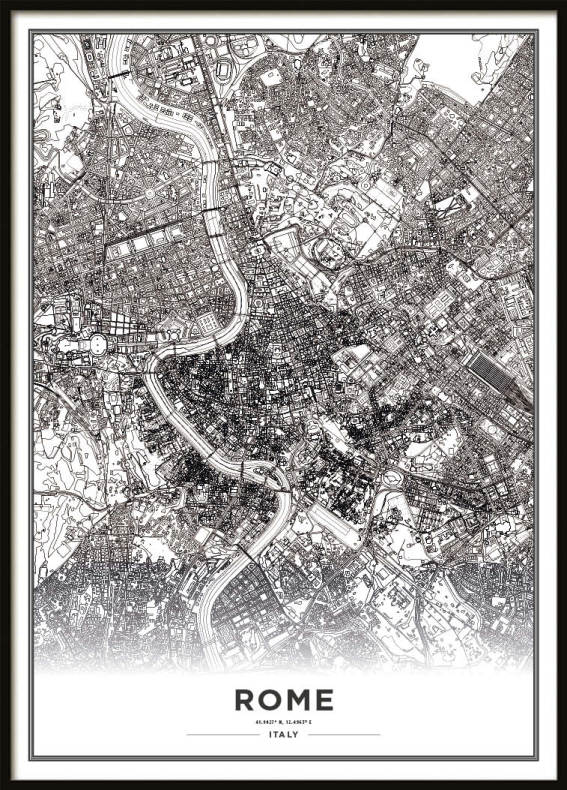 Poster, Rome Map