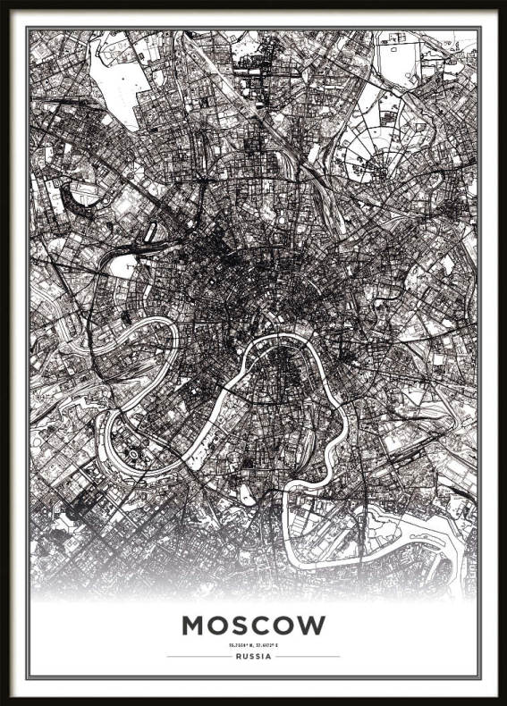 Poster, Moscow Map