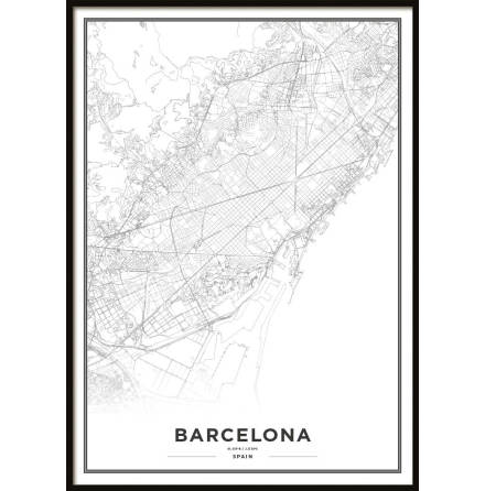 Poster, Barcelona Map