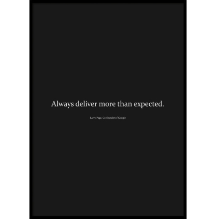 Poster, Always deliver more than expected, Black