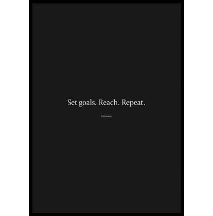 Poster, Set Goals. Reach. Repeat, Black