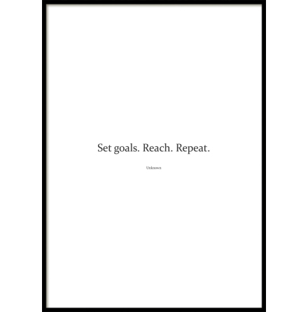 Poster, Set Goals. Reach. Repeat, White