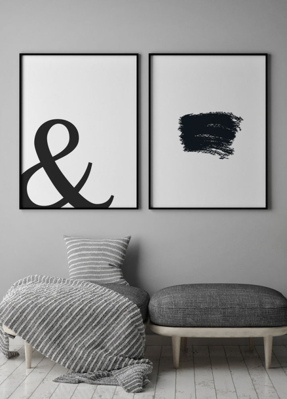 graphic posters with typography black and white prints prints