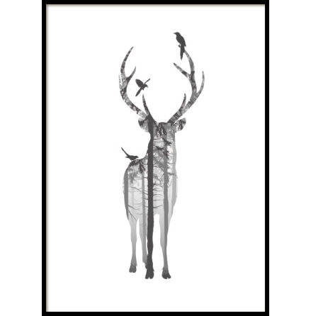 BLACK AND WHITE DEER, POSTER