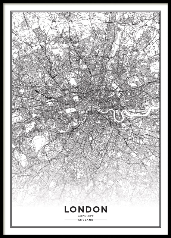 Map Of England Poster.London Poster Black And White Poster With Maps