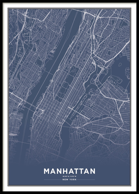 NEW YORK CITY MAP BLUE, POSTER
