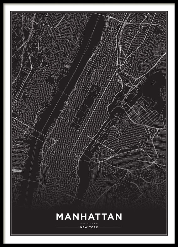NEW YORK CITY MAP Black, Poster