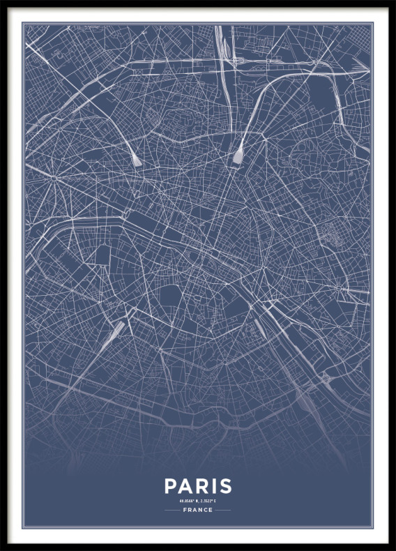 PARIS CITY MAP BLUE, POSTER
