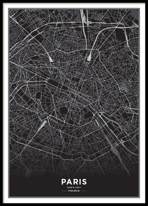 PARIS CITY MAP BLACK, POSTER