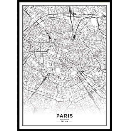POSTER, PARIS CITY MAP
