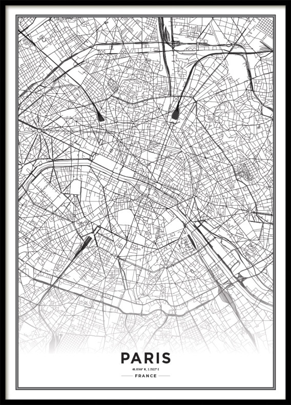 Poster Paris City Map | black and white Print | Poster with maps
