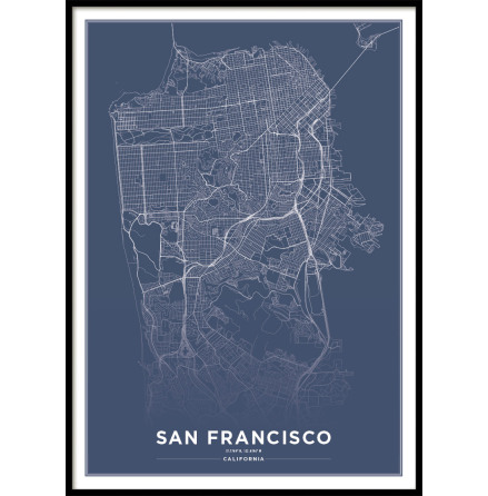 SAN FRANCISCO CITY MAP BLUE, POSTER