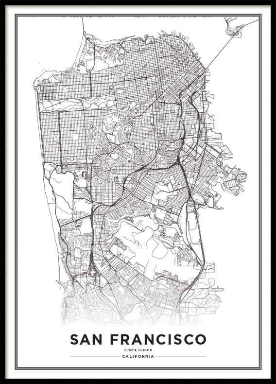Poster San Francisco City Map | black and white Print | Poster with on posters of maps, posters of language, posters of movies, posters of organizations, posters of nature, posters of animals, posters of cityscapes, posters of culture, posters of travel, posters of destinations, posters of communities, posters of libraries, posters of companies, posters of technology, posters of media, posters of love, posters of women's suffrage, posters of oceans, posters of space, posters of science,