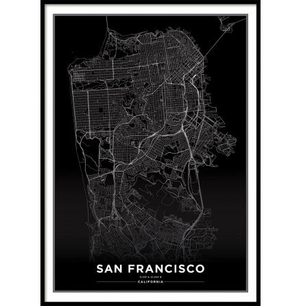 SAN FRANCISCO CITY MAP BLACK, POSTER
