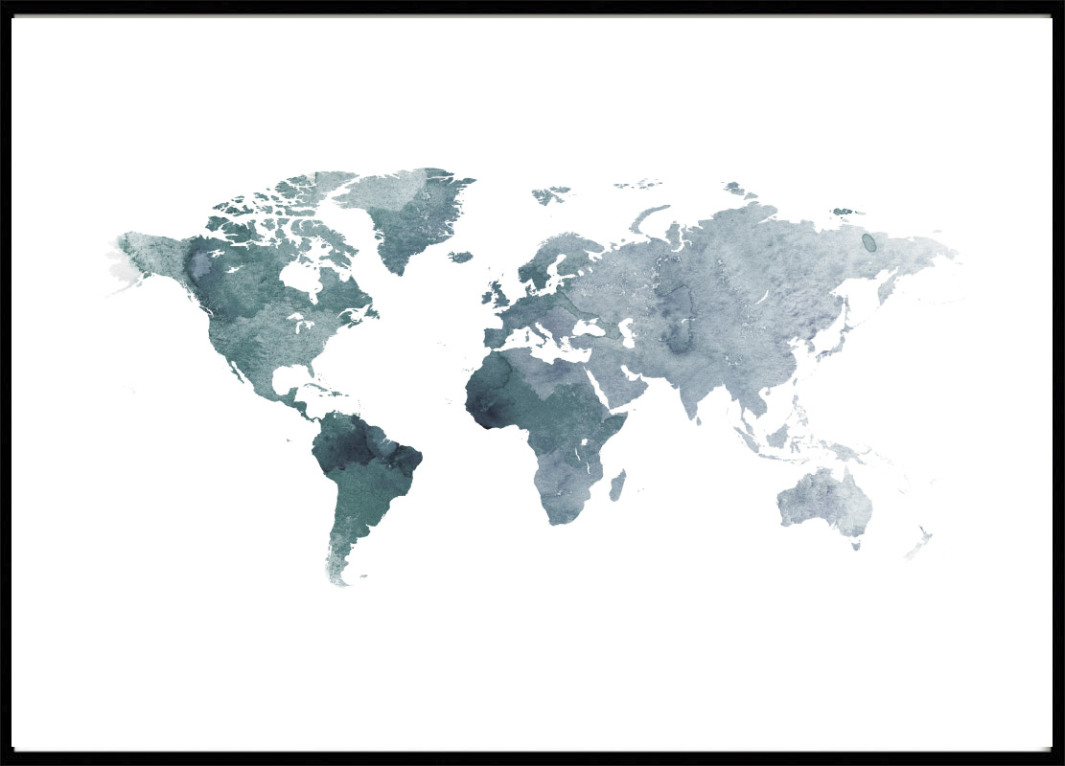Poster World Map, Blue