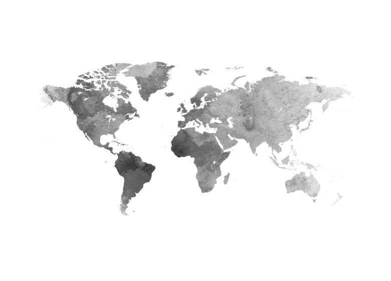 poster world map grey