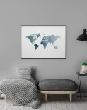Poster, World Map Grey