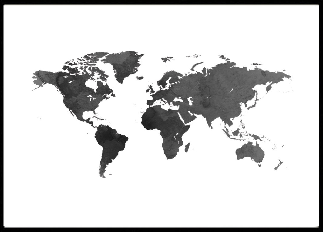 Poster, World Map Black