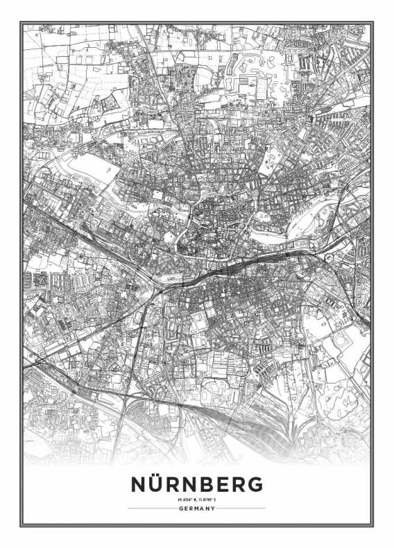 Poster City Map Nurnberg Poster With Maps - Germany map nurnberg