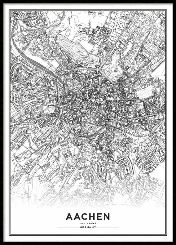 Poster City Map Aachen Poster with maps
