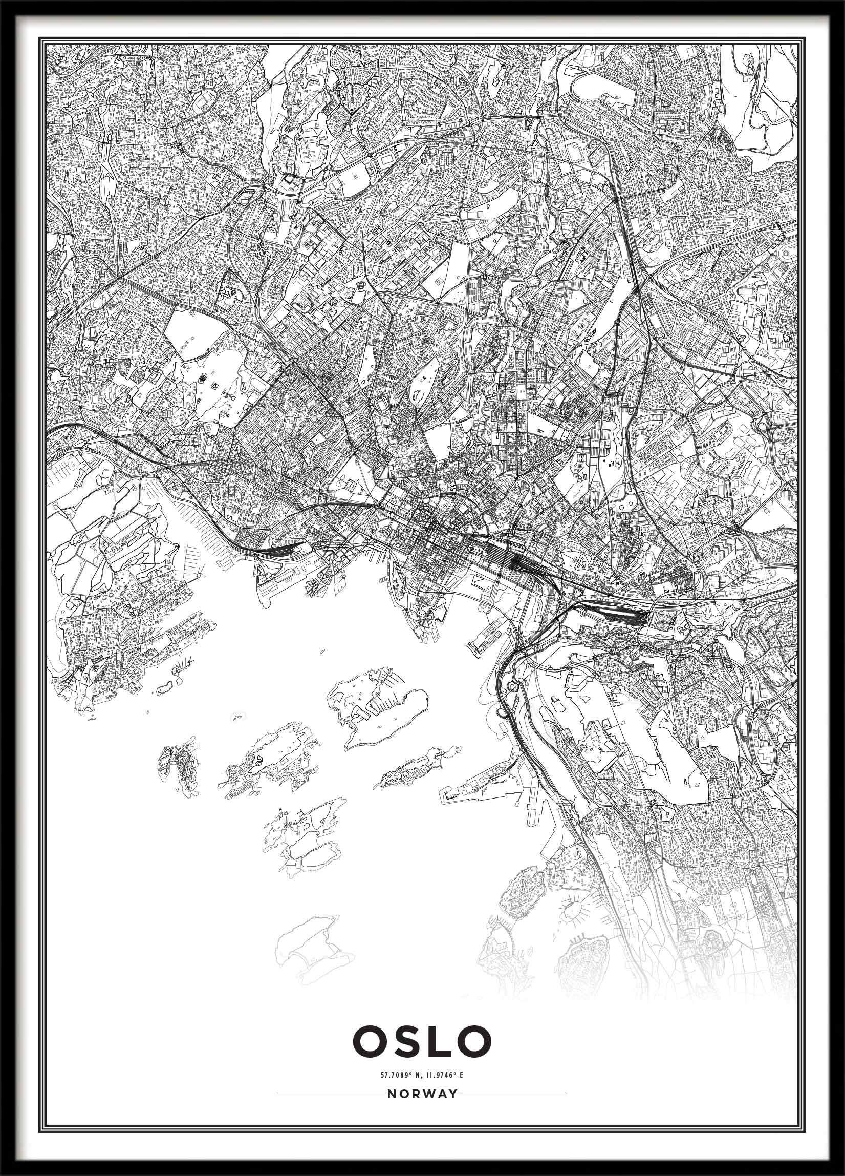 Poster City Map Oslo Poster With Maps